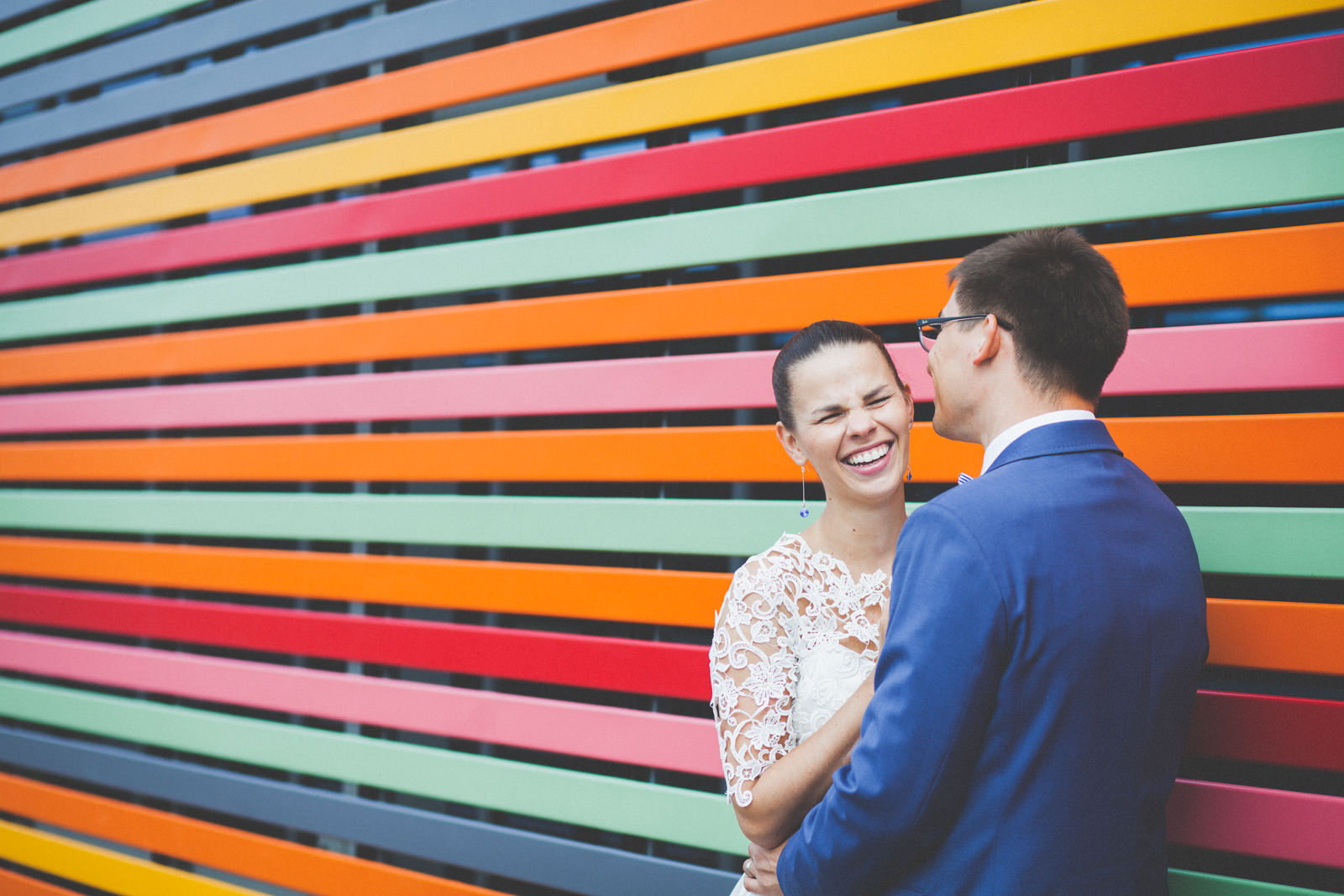 colourful wedding portrait