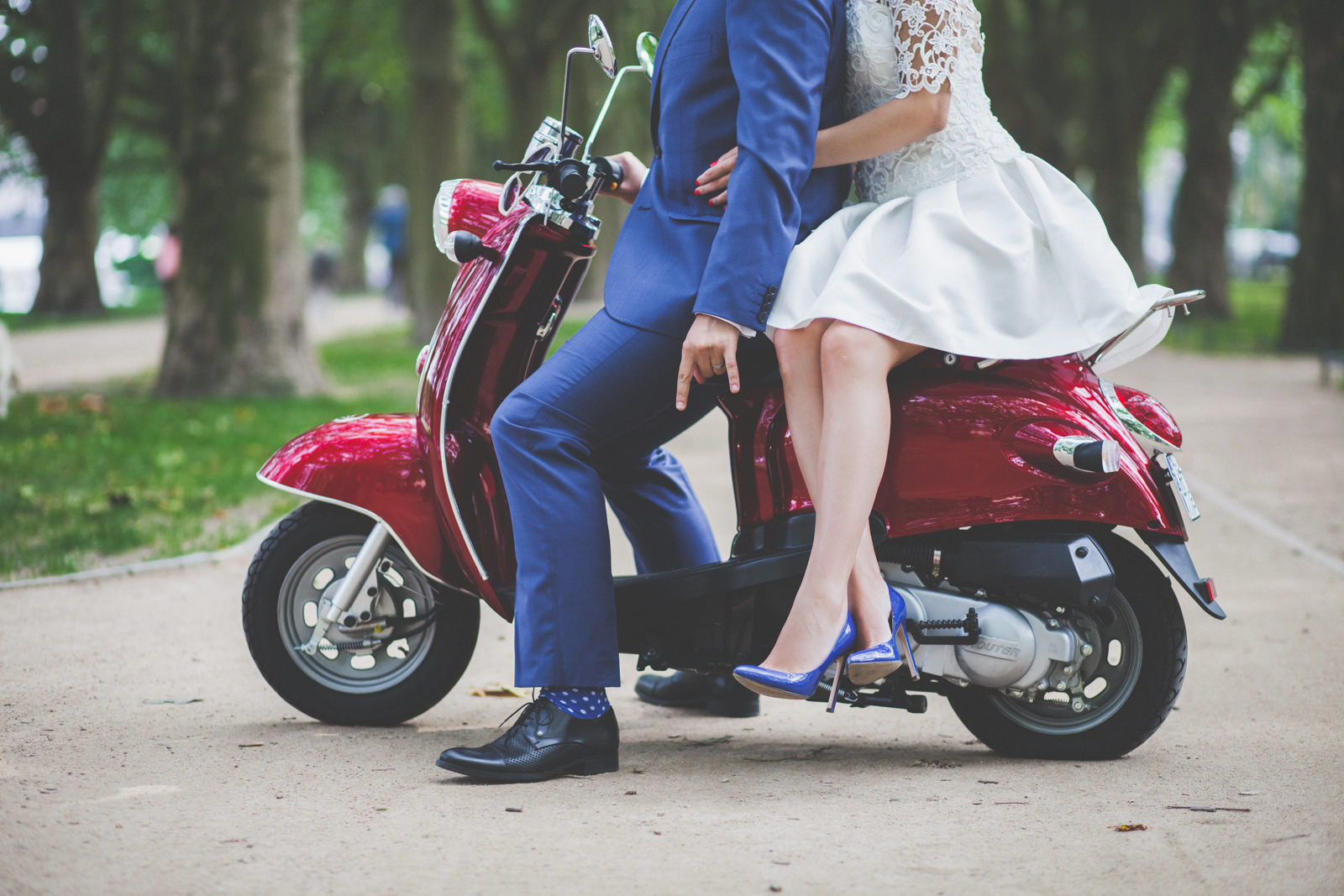 wedding portrait with scooter