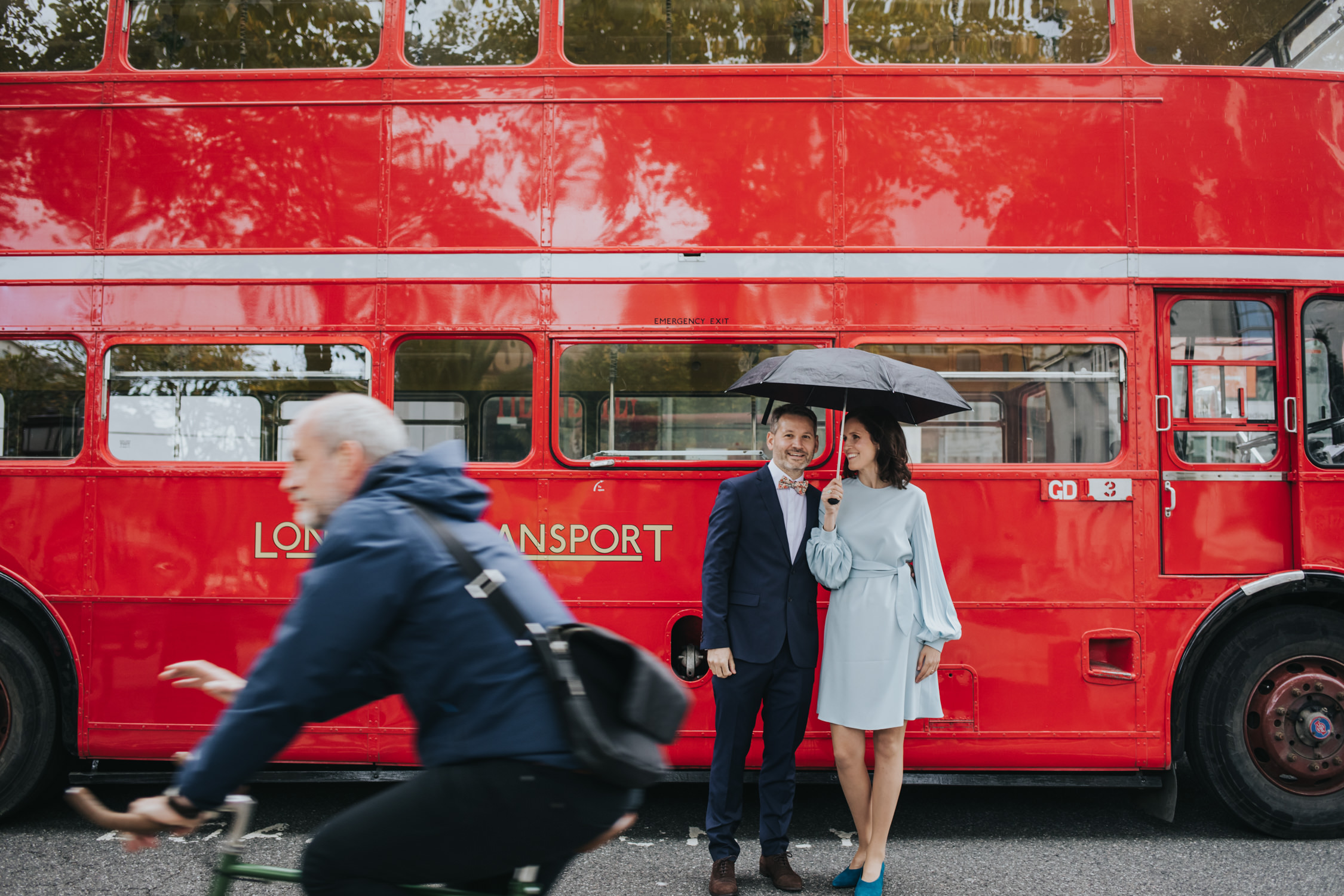 Hackney wedding picture with london bus