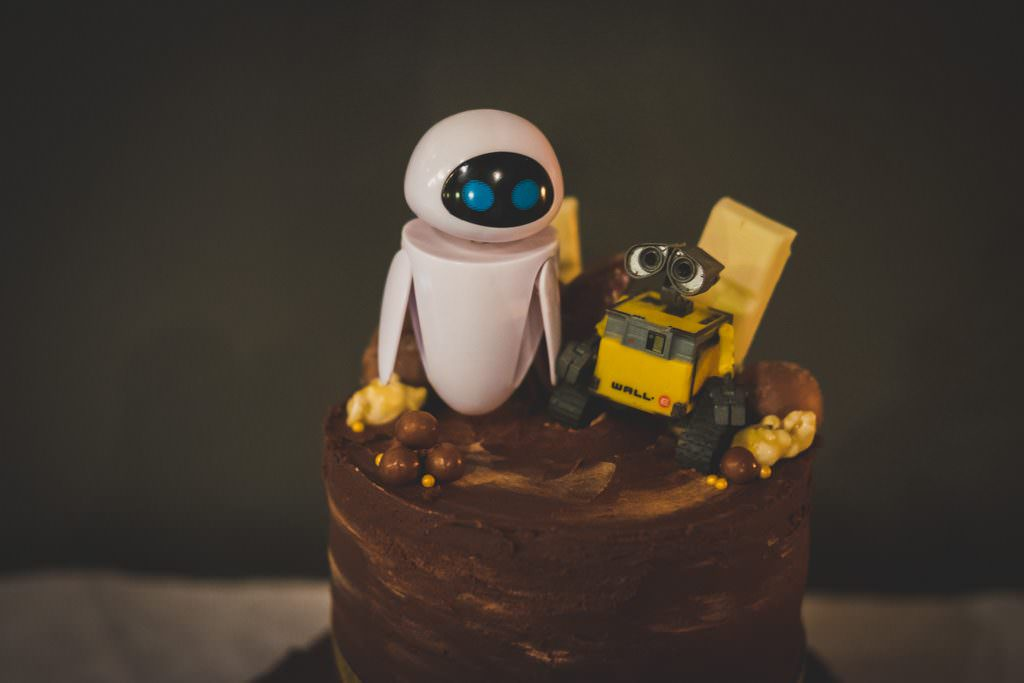 wall-e wedding cake - eva photography