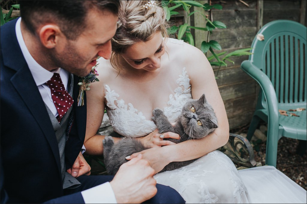 cat wedding portrait, alternative wedding photographer, alternative wedding photographer london, wedding photographer london, relaxed wedding photographer london, alternative wedding photographer Surrey