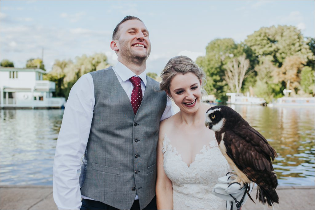 Molesey Boat Club wedding, Alternative Surrey wedding, birds of prey wedding