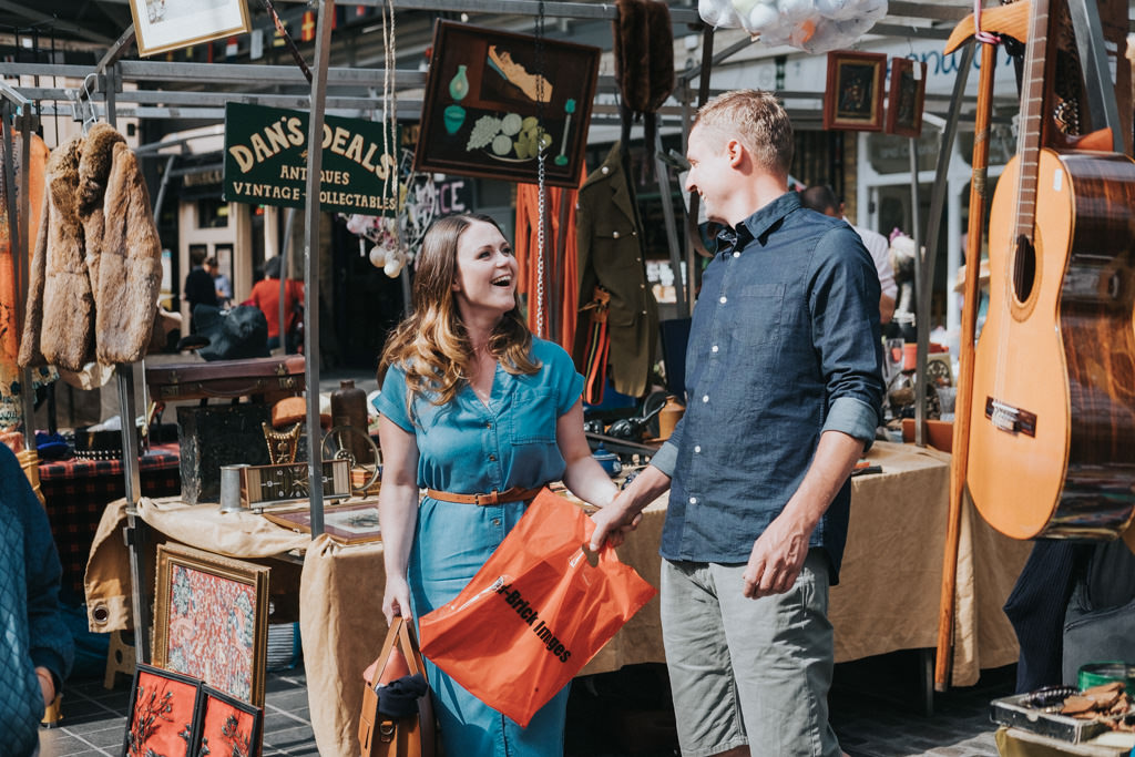 Greenwich market engagement shoot, greenwich pre-wedding shoot, greenwich wedding photographer, alternative wedding photographer London