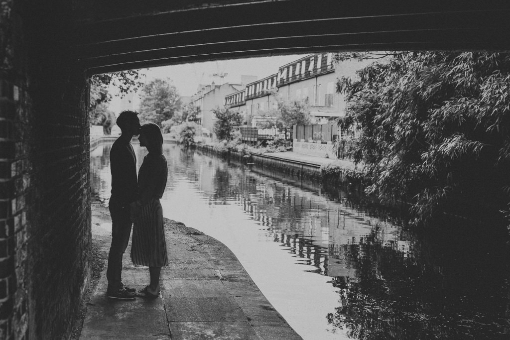 Engagement shoot by the canals in Hackney