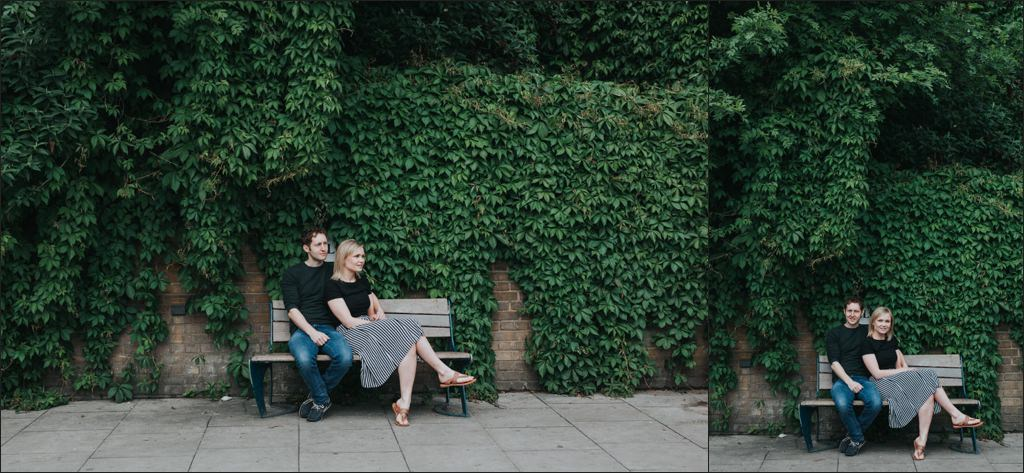 Engagement shoot by ivy wall in hackney