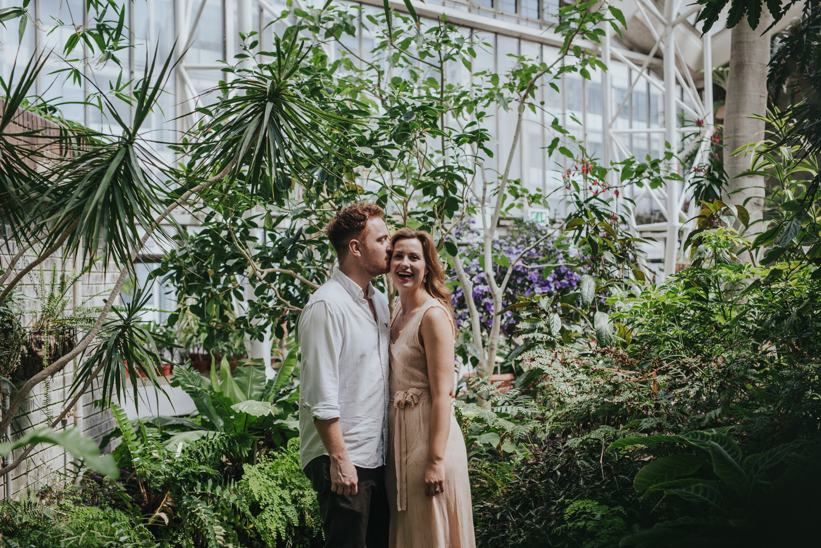 Couple at the Barbican conservatory - Barbican engagement shoot