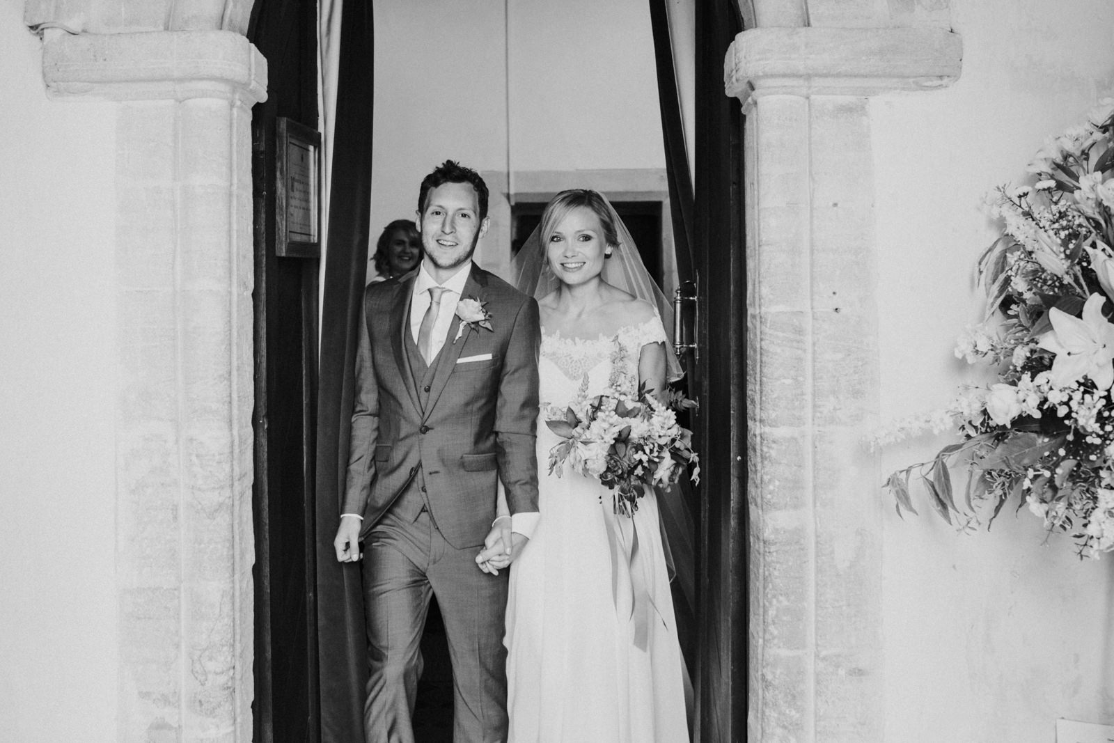 Just married couple leaving church - Oxfordshire wedding