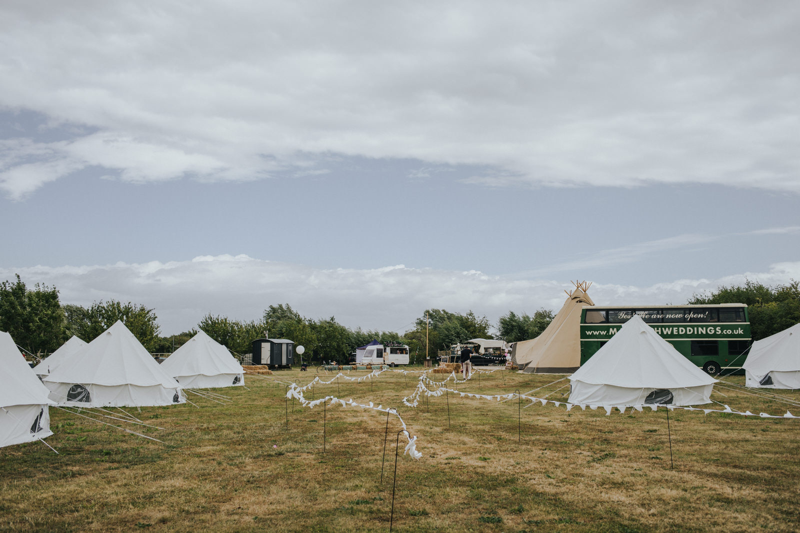 view of the camping site at Maybush Weddings in Witney  - Oxfordshire tipi wedding