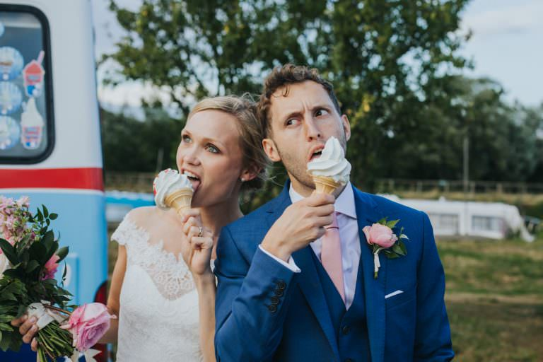 tipi wedding, couple eating ice cream from an ice cream truck
