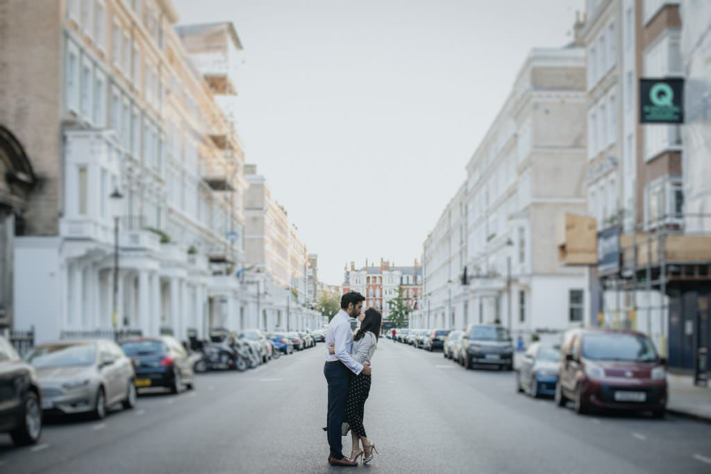 Couple on the street of South Kensington couple shoot