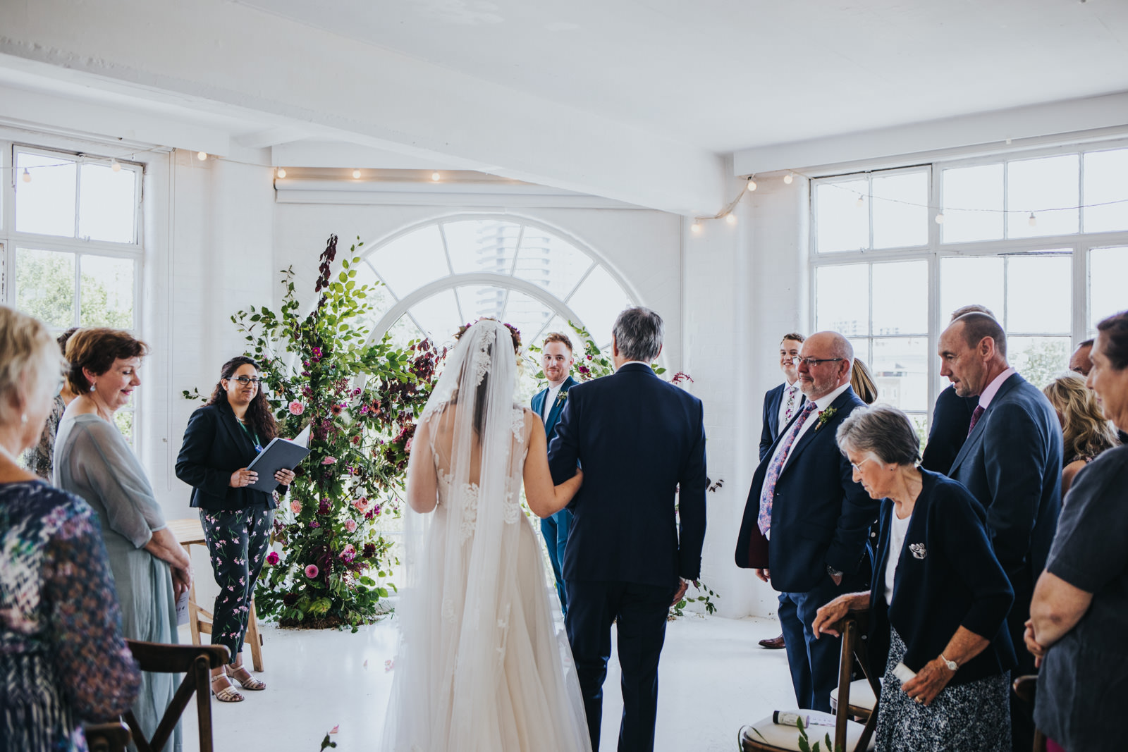 Bride's entrance at the Wimbourne House wedding in Shoreditch