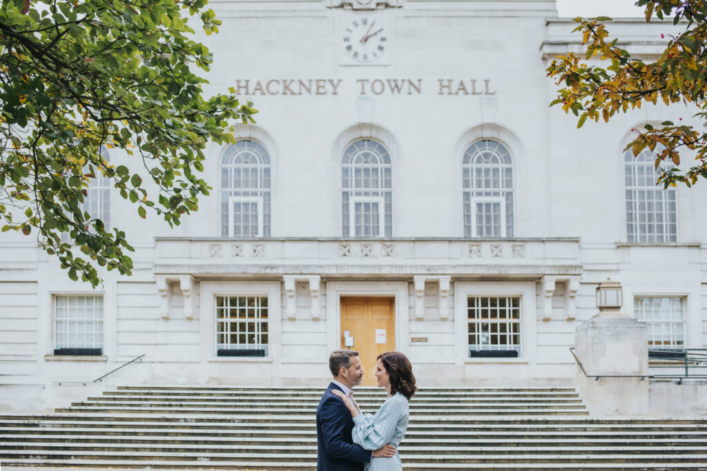 Micro wedding in Hackney - couple portrait in front of the Hackney Town Hall