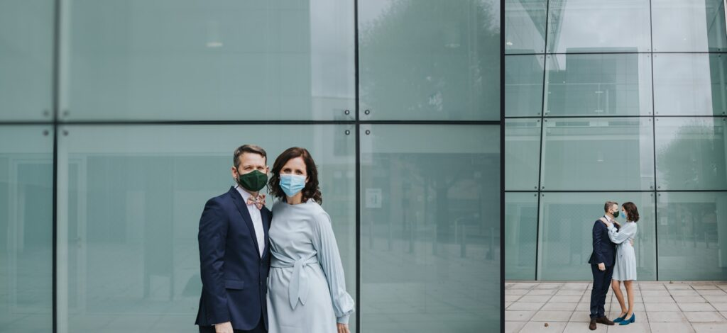 Micro wedding in Hackney - portraits in face masks