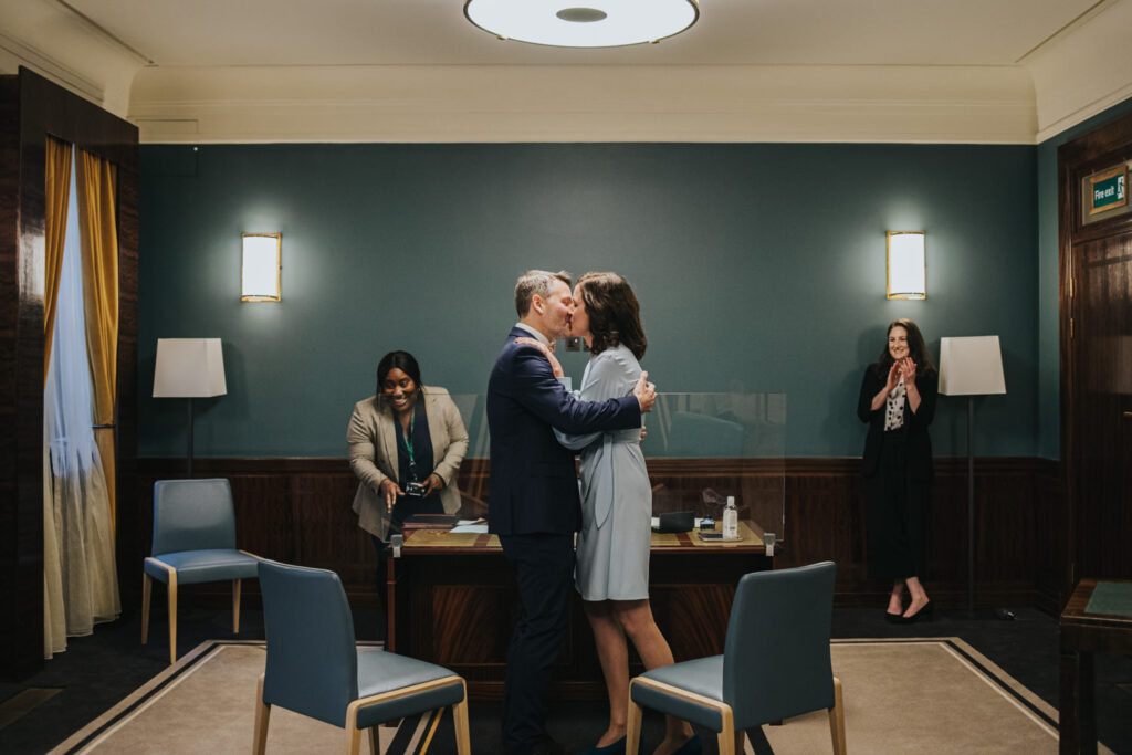 Micro wedding in Hackney - first kiss
