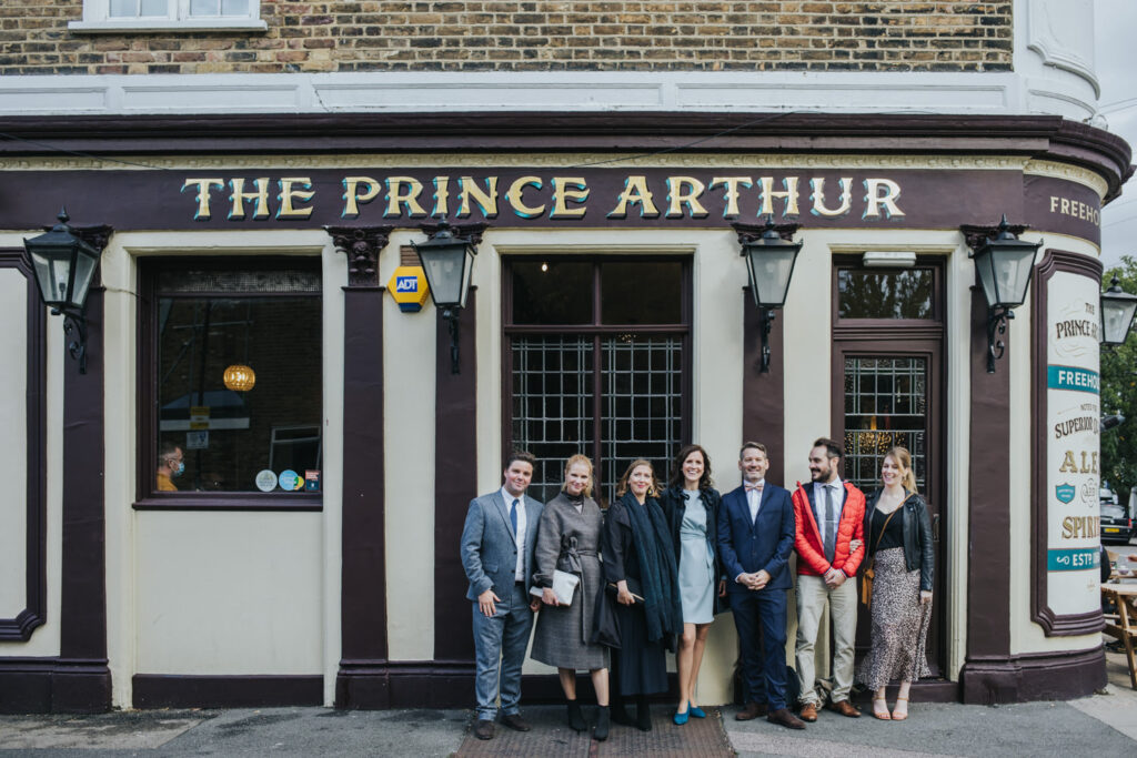 Micro wedding in Hackney - group shot outside of the pub